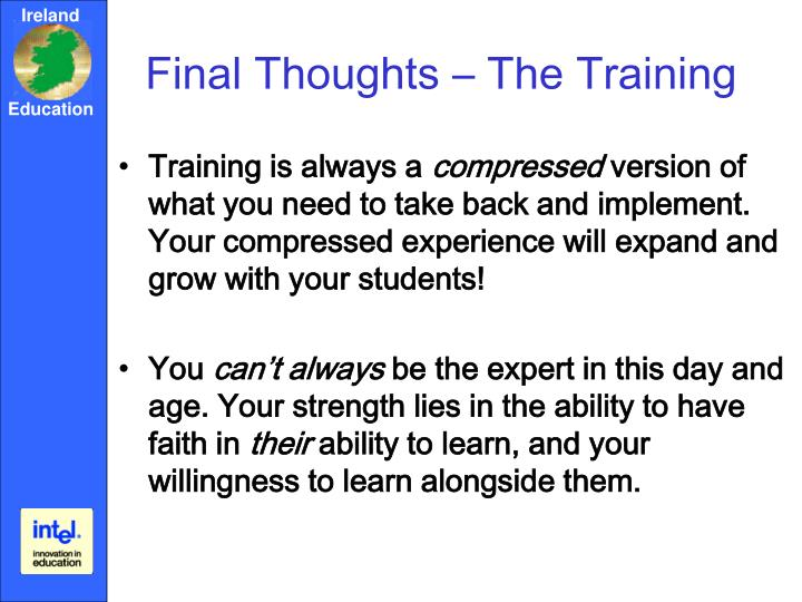 Final Thoughts – The Training