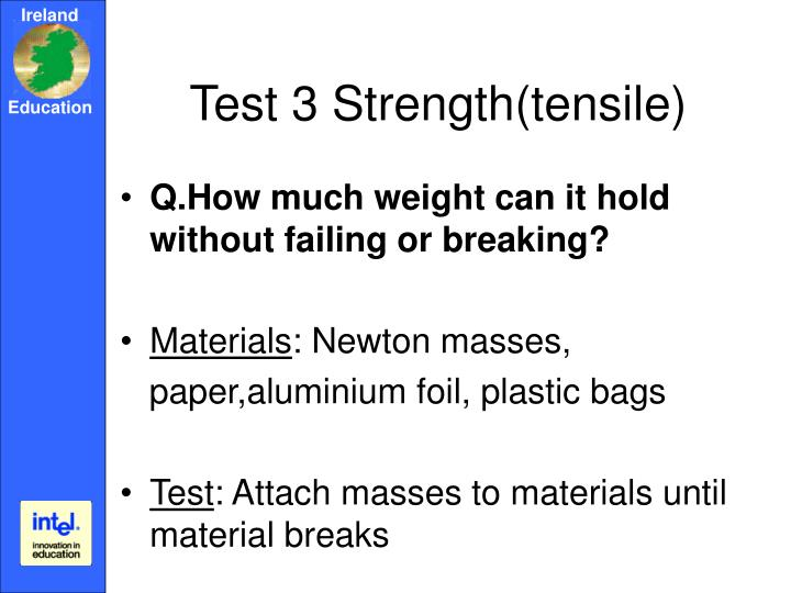 Test 3 Strength(tensile)