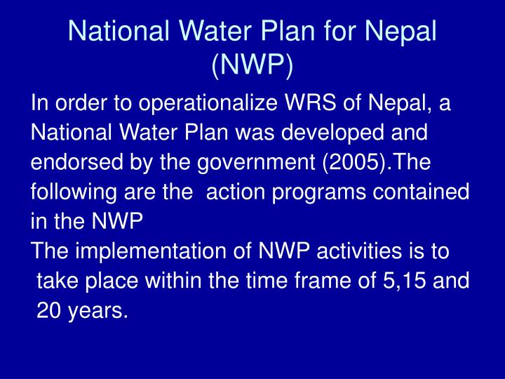 National Water Plan for Nepal