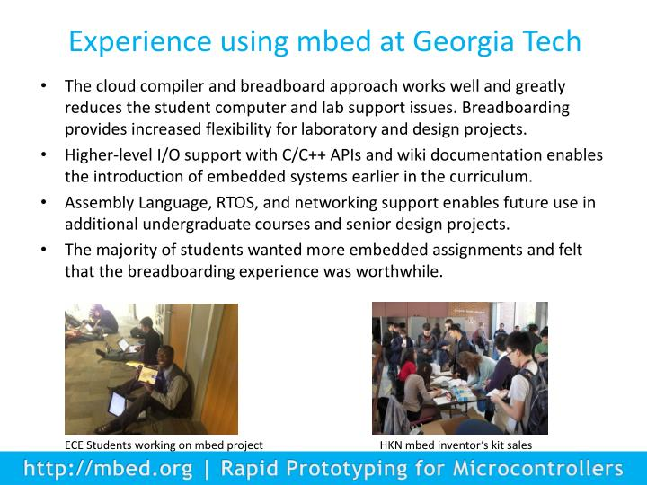 Experience using mbed at Georgia Tech