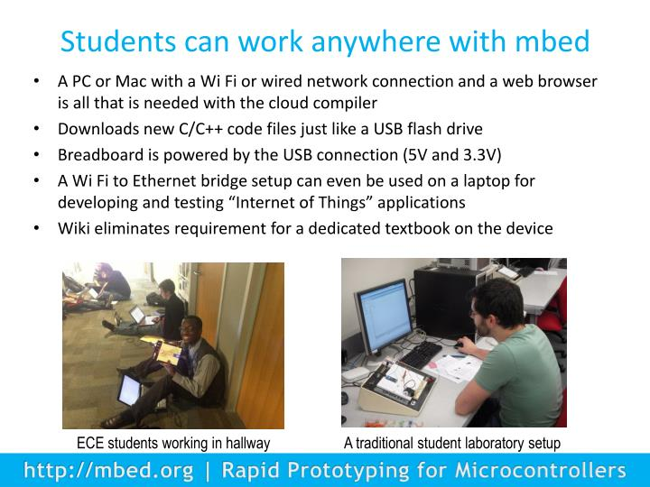 Students can work anywhere with mbed