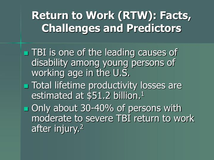 Return to Work (RTW): Facts, Challenges and Predictors