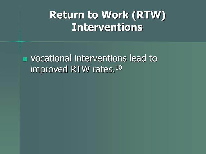 Return to Work (RTW) Interventions