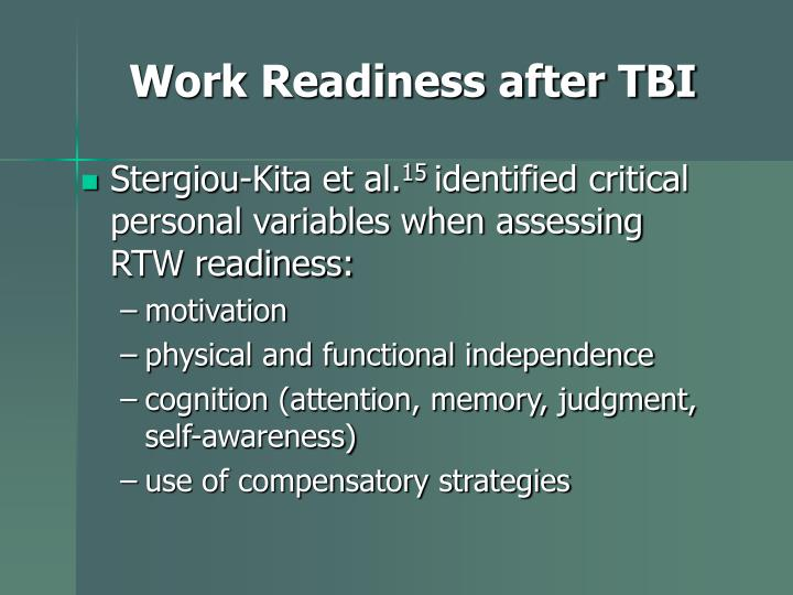 Work Readiness after TBI