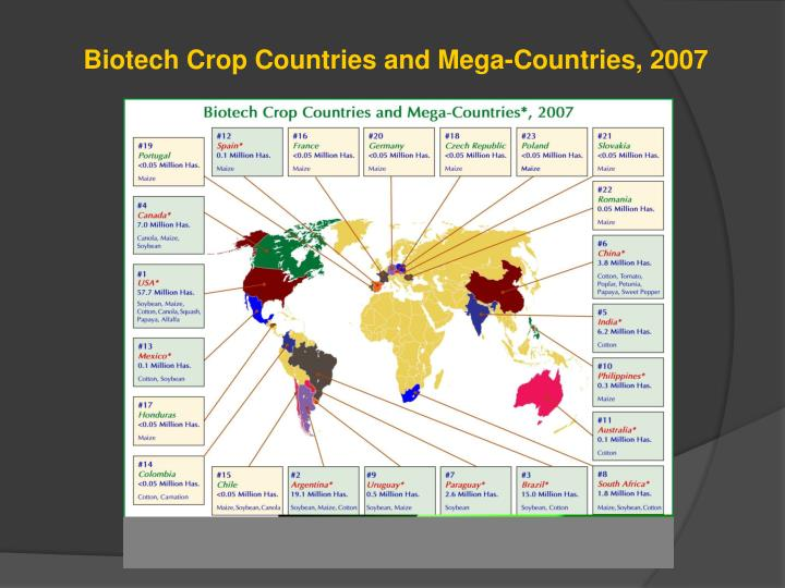 Biotech Crop Countries and Mega-Countries, 2007