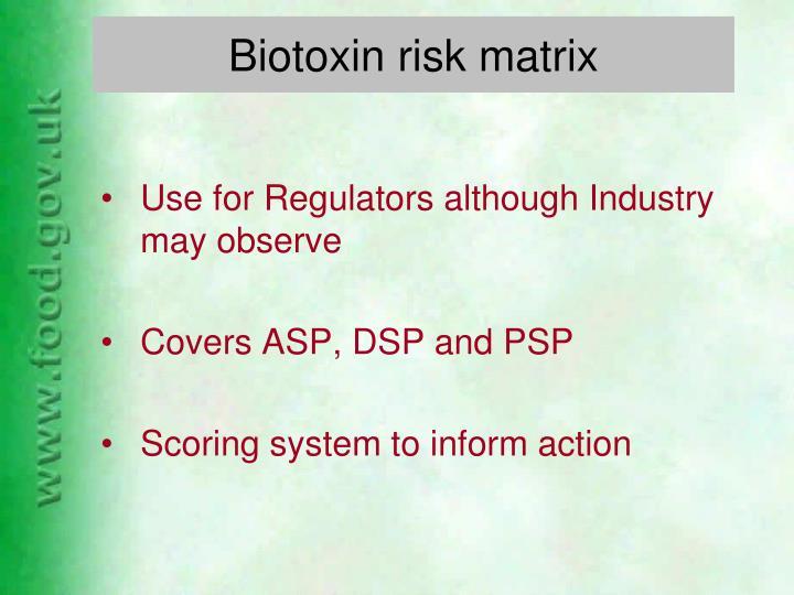 Biotoxin risk matrix