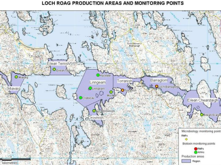 Map of Loch Roag  showing monitoring points