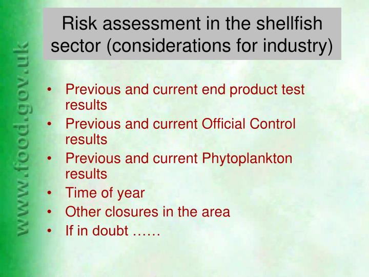Risk assessment in the shellfish sector (considerations for industry)