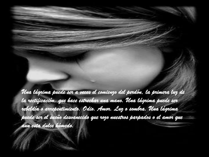 Una lágrima puede ser a veces el comienzo del perdón, la primera luz de la rectificación, que hace estrechar una mano. Una lágrima puede ser rebeldía o arrepentimiento. Odio. Amor. Luz o sombra. Una lágrima puede ser el sueño desvanecido que rozo nuestros parpados o el amor que aun esta dulce húmedo.