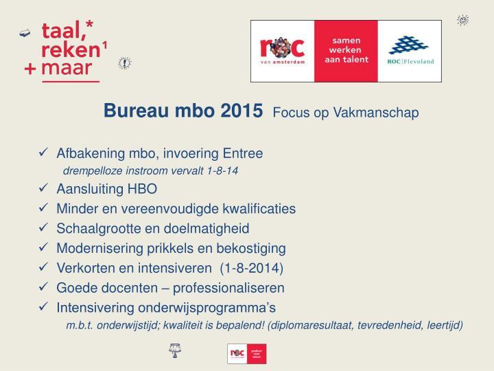 Bureau mbo 2015