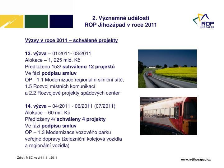 Výzvy v roce 2011 – schválené projekty