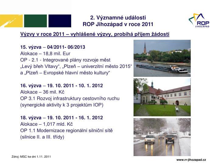 Výzvy v roce 2011