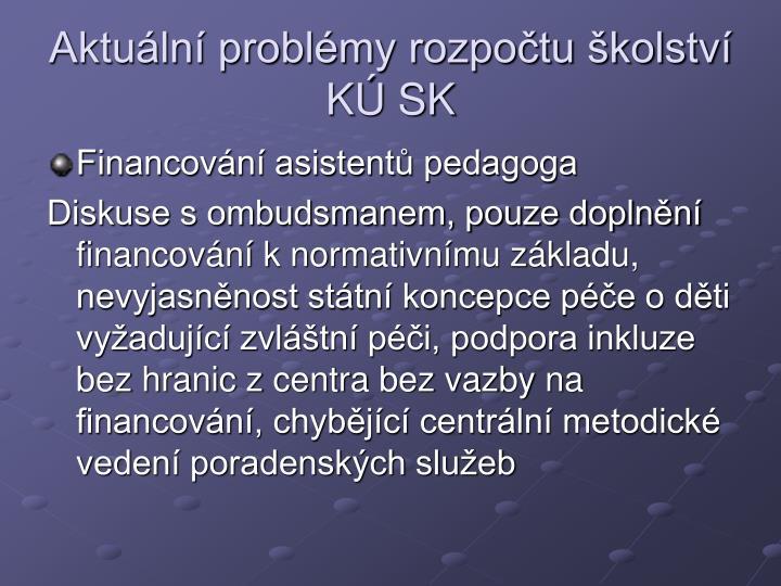 Aktuln problmy rozpotu kolstv K SK