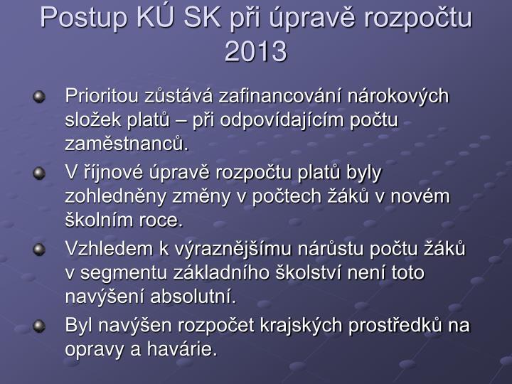 Postup K SK pi prav rozpotu 2013
