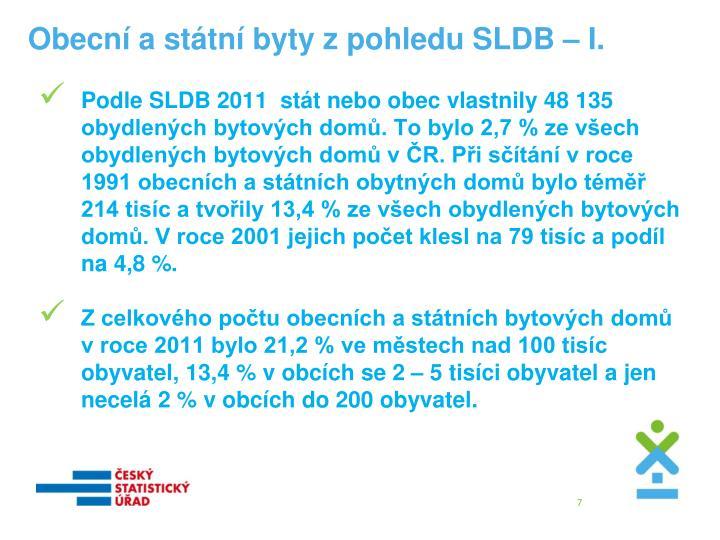 Obecní a státní byty z pohledu SLDB – I.