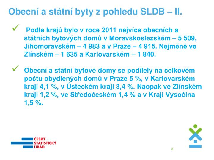 Obecní a státní byty z pohledu SLDB – II.