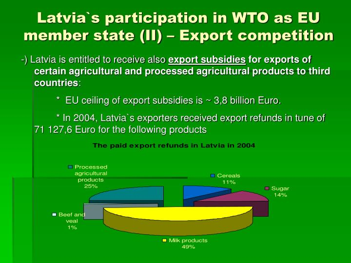 Latvia`s participation in WTO as EU member state (II) – Export competition