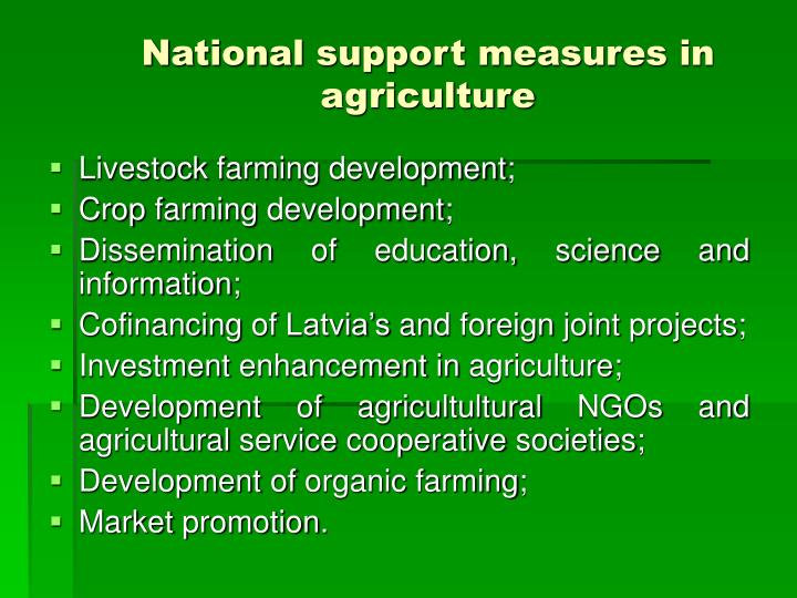 National support measures in agriculture