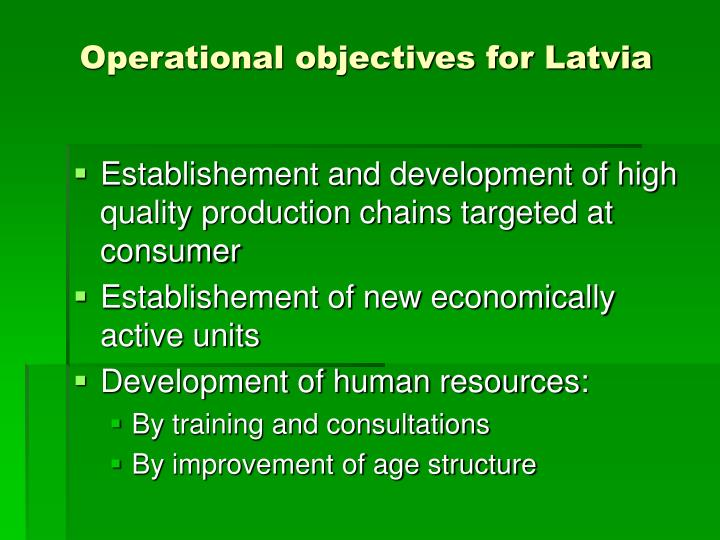 Operational objectives for Latvia