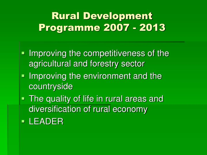 Rural Development Programme 2007 - 2013