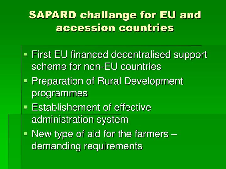 SAPARD challange for EU and accession countries