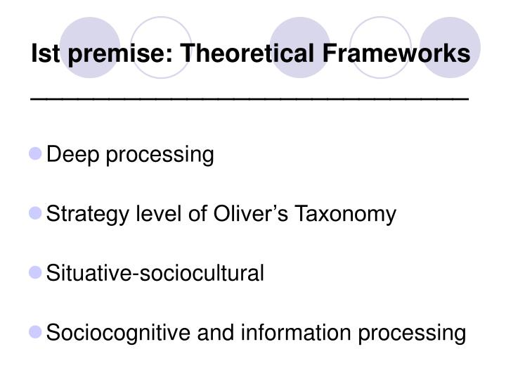 Ist premise: Theoretical Frameworks
