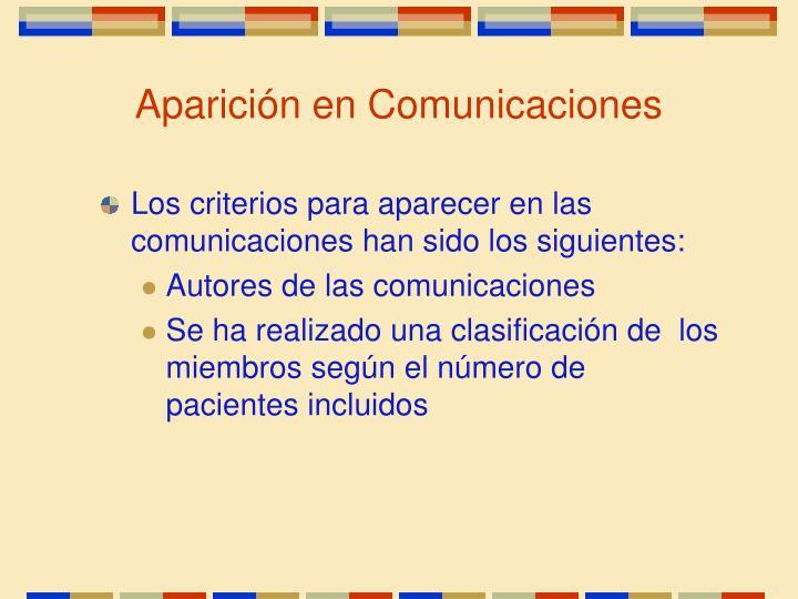 Aparición en Comunicaciones