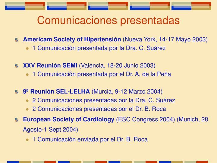 Comunicaciones presentadas
