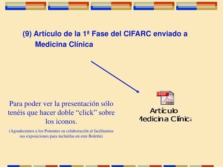 (9) Artículo de la 1ª Fase del CIFARC enviado a