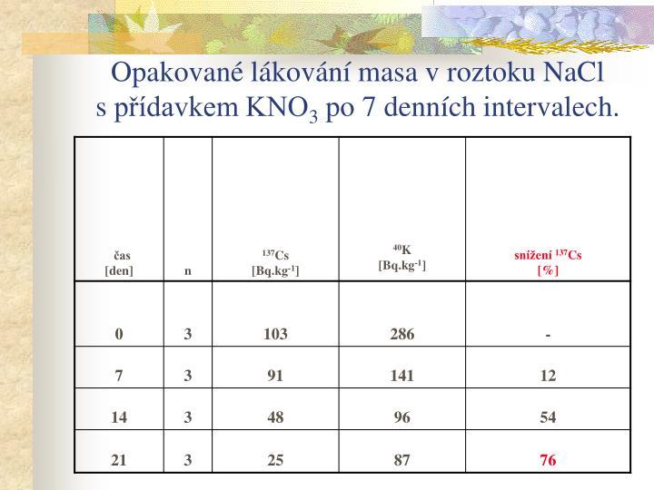 Opakované lákování masa vroztoku NaCl spřídavkem KNO