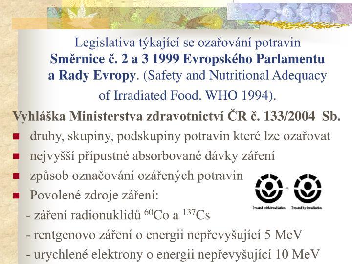 Legislativa týkající se ozařování potravin