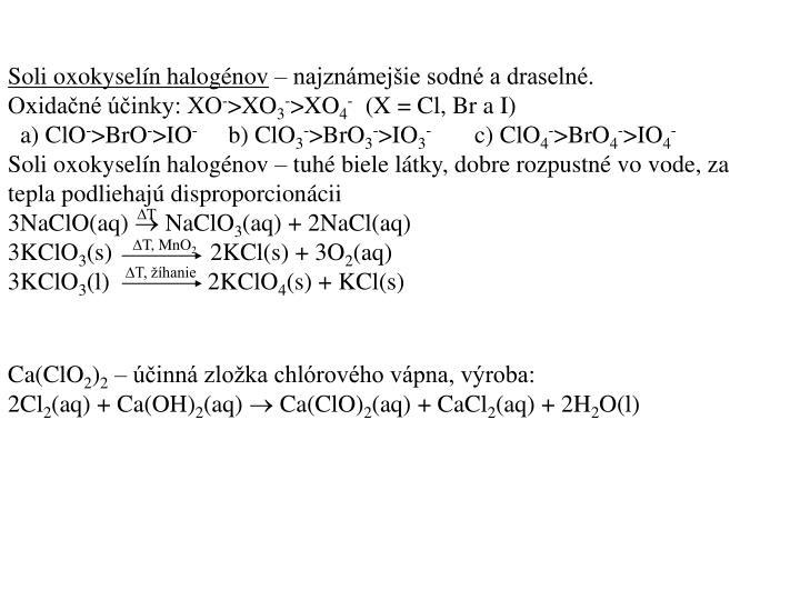 Soli oxokyselín halogénov