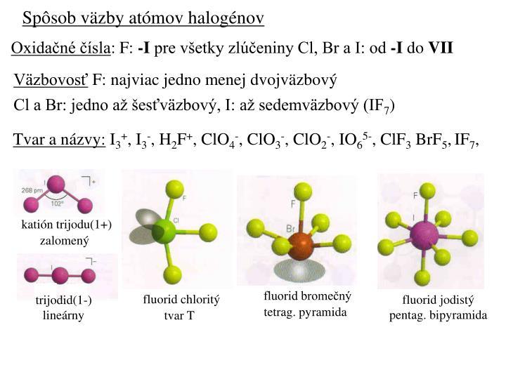 Spôsob väzby atómov halogénov