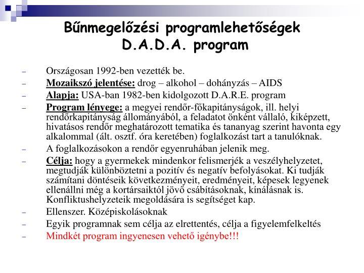 Bűnmegelőzési programlehetőségek