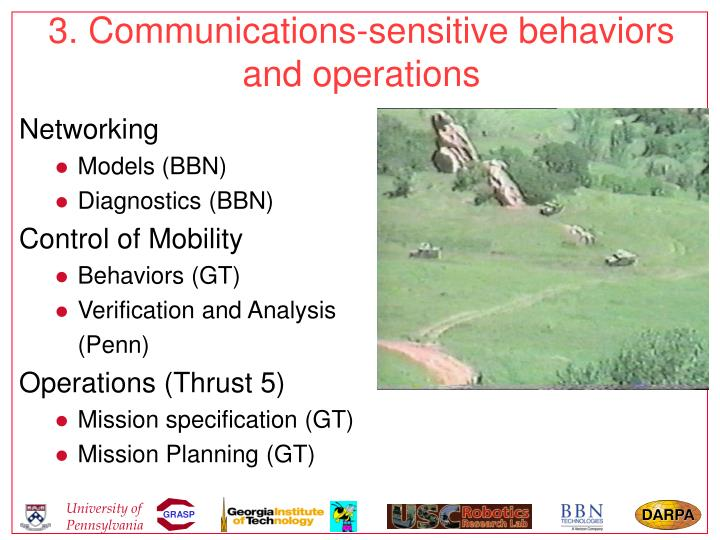 3. Communications-sensitive behaviors and operations