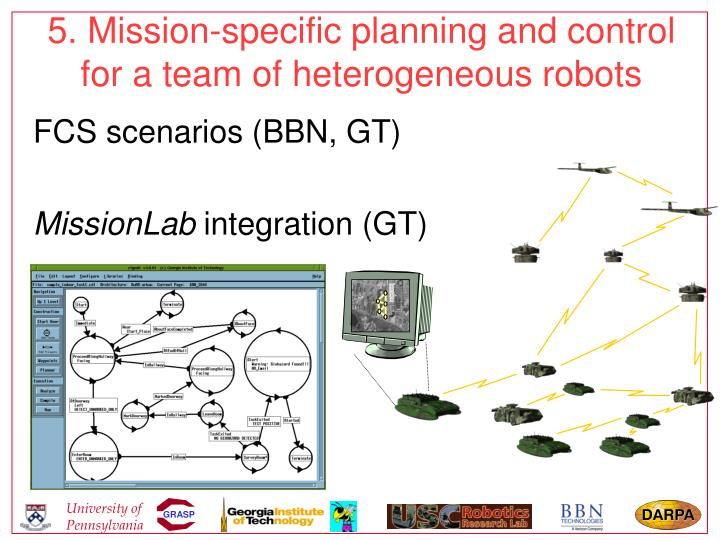 5. Mission-specific planning and control for a team of heterogeneous robots