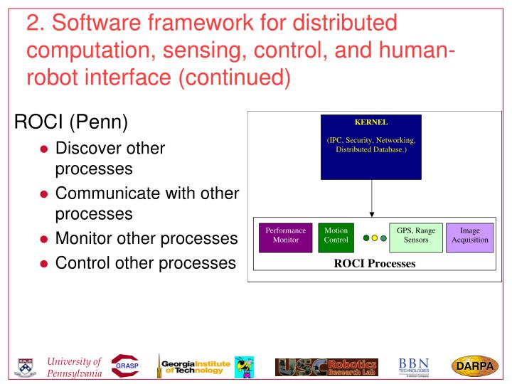 2. Software framework for distributed computation, sensing, control, and human-robot interface (continued)