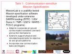 task 1 communication sensitive mission specification