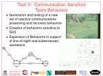 task 3 communication sensitive team behaviors