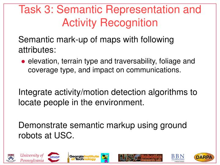 Task 3: Semantic Representation and Activity Recognition