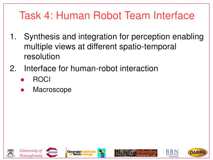 Task 4: Human Robot Team Interface