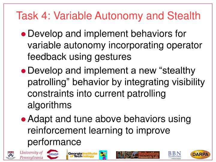 Task 4: Variable Autonomy and Stealth
