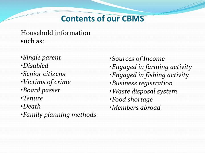 Contents of our CBMS