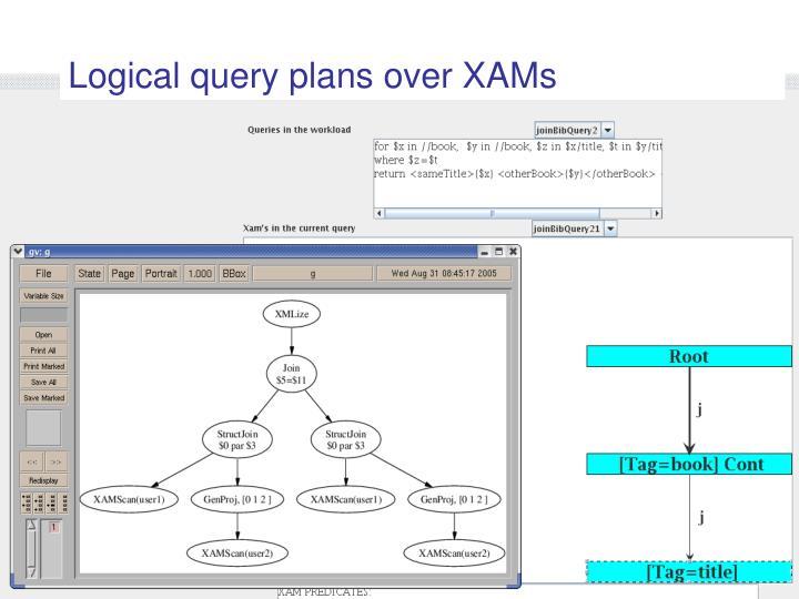 Logical query plans over XAMs