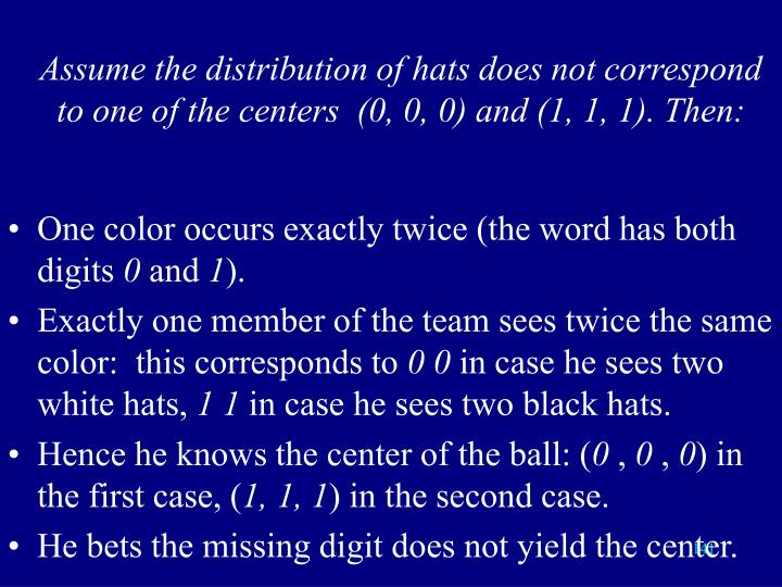 Assume the distribution of hats does not correspond to one of the centers  (0, 0, 0) and (1, 1, 1). Then: