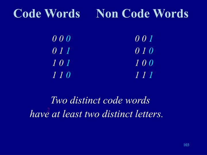 Code WordsNon Code Words
