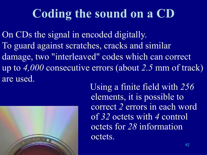 Coding the sound on a CD
