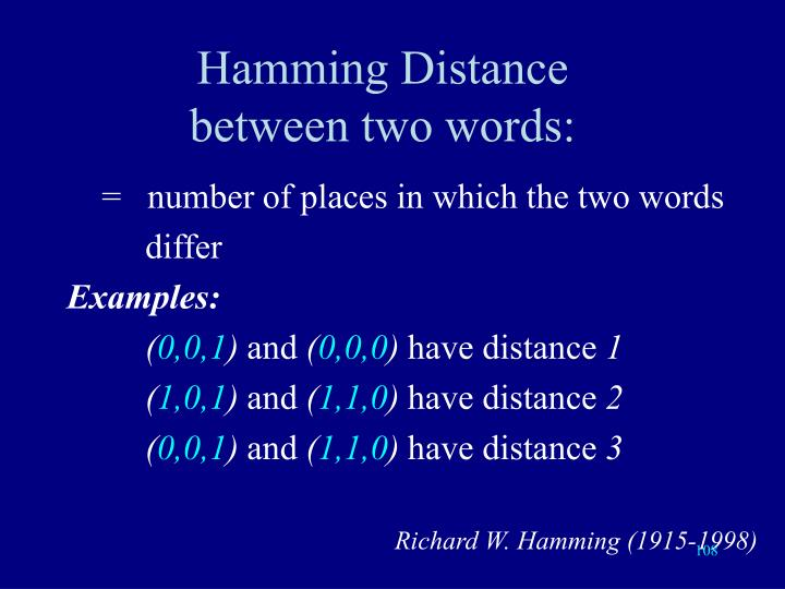 Hamming Distance         between two words:
