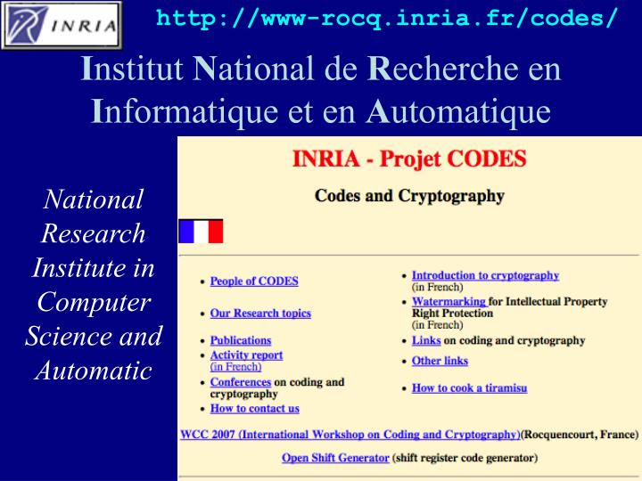 http://www-rocq.inria.fr/codes/
