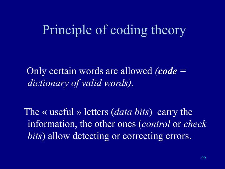 Principle of coding theory